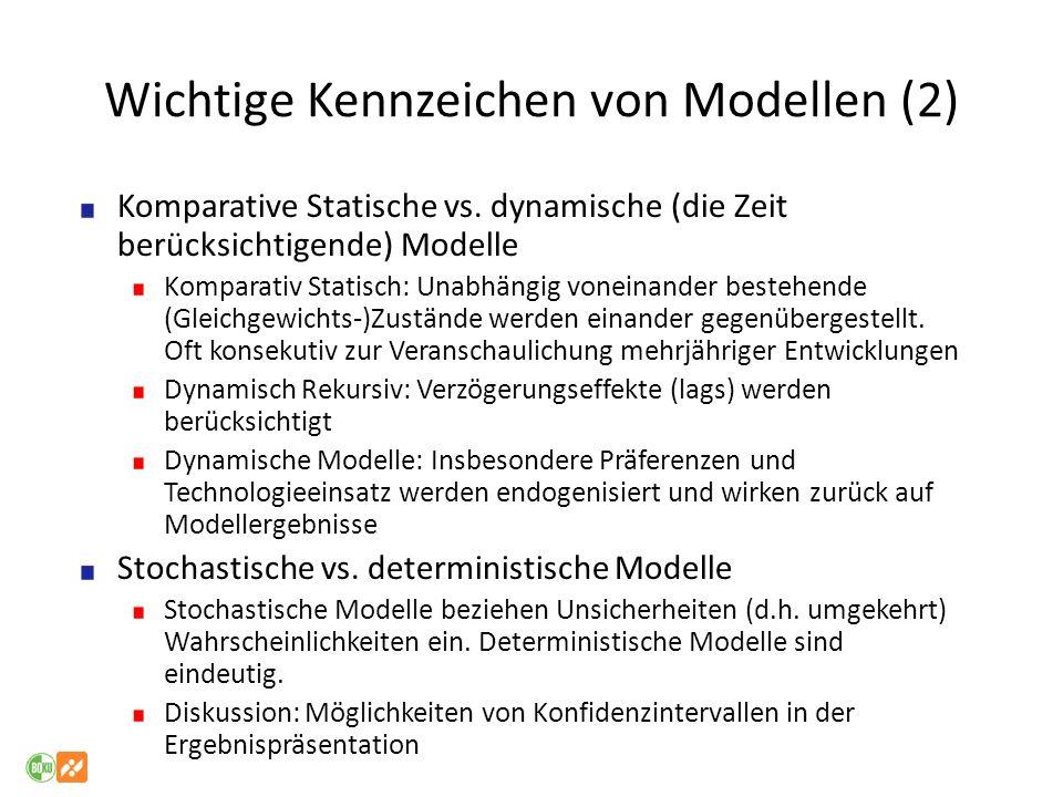 Wichtige Kennzeichen von Modellen (2) Komparative Statische vs. dynamische (die Zeit berücksichtigende) Modelle Komparativ Statisch: Unabhängig vonein