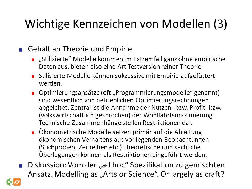 Wichtige Kennzeichen von Modellen (3) Gehalt an Theorie und Empirie Stilisierte Modelle kommen im Extremfall ganz ohne empirische Daten aus, bieten al