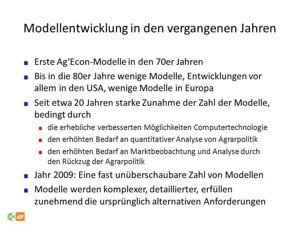 Modellentwicklung in den vergangenen Jahren Erste AgEcon-Modelle in den 70er Jahren Bis in die 80er Jahre wenige Modelle, Entwicklungen vor allem in d