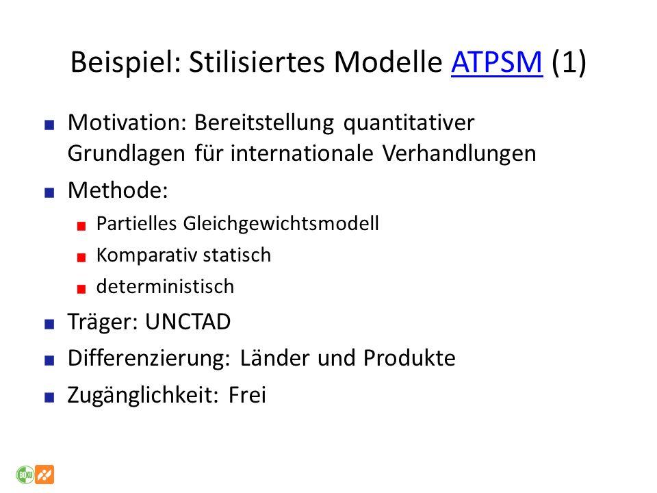 Beispiel: Stilisiertes Modelle ATPSM (1)ATPSM Motivation: Bereitstellung quantitativer Grundlagen für internationale Verhandlungen Methode: Partielles