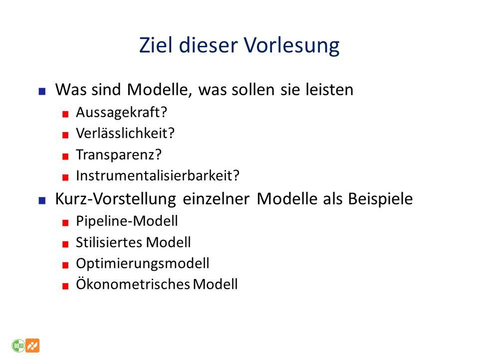Ziel dieser Vorlesung Was sind Modelle, was sollen sie leisten Aussagekraft? Verlässlichkeit? Transparenz? Instrumentalisierbarkeit? Kurz-Vorstellung