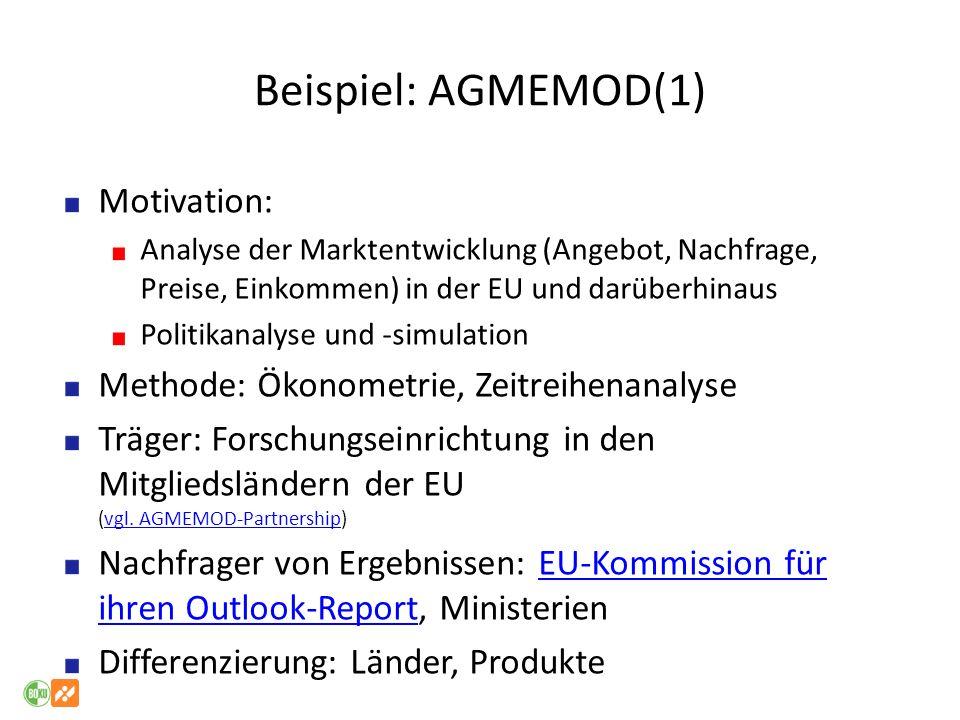 Beispiel: AGMEMOD(1) Motivation: Analyse der Marktentwicklung (Angebot, Nachfrage, Preise, Einkommen) in der EU und darüberhinaus Politikanalyse und -