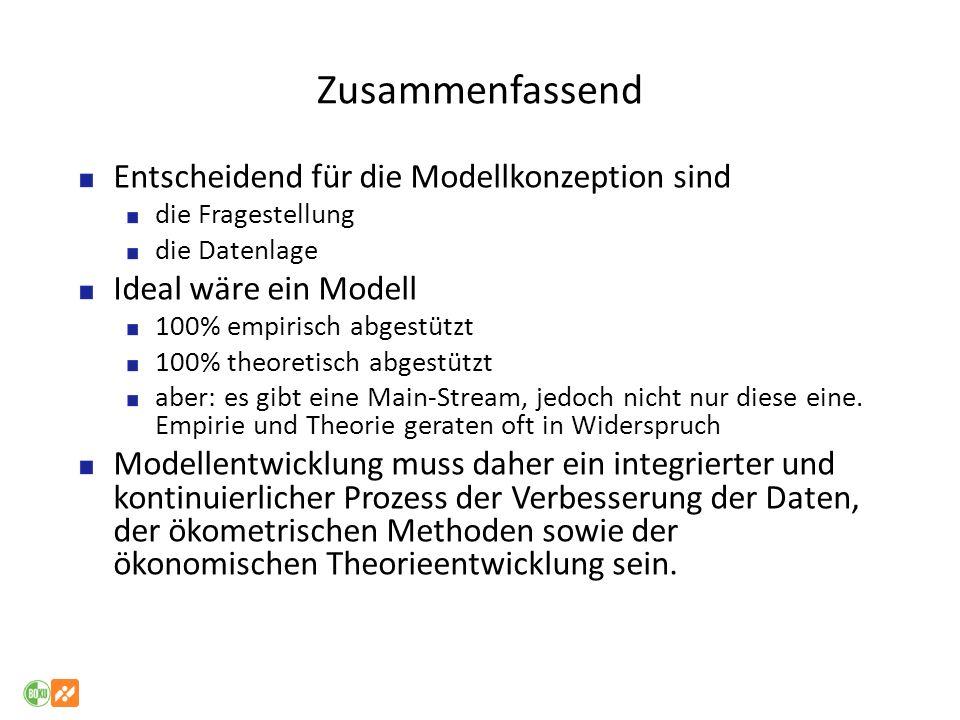 Zusammenfassend Entscheidend für die Modellkonzeption sind die Fragestellung die Datenlage Ideal wäre ein Modell 100% empirisch abgestützt 100% theore