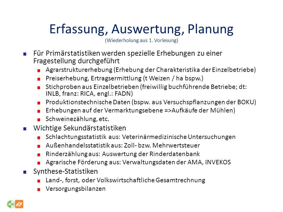 Erfassung, Auswertung, Planung (Wiederholung aus 1. Vorlesung) Für Primärstatistiken werden spezielle Erhebungen zu einer Fragestellung durchgeführt A