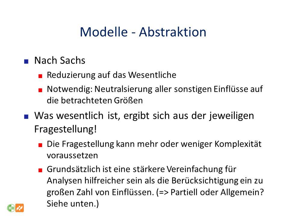 Modelle - Abstraktion Nach Sachs Reduzierung auf das Wesentliche Notwendig: Neutralsierung aller sonstigen Einflüsse auf die betrachteten Größen Was w
