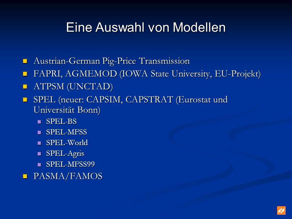 Eine Auswahl von Modellen Austrian-German Pig-Price Transmission Austrian-German Pig-Price Transmission FAPRI, AGMEMOD (IOWA State University, EU-Proj