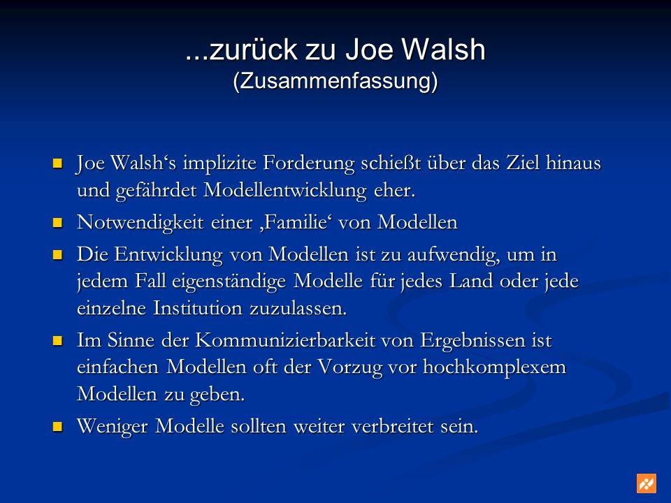 ...zurück zu Joe Walsh (Zusammenfassung) Joe Walshs implizite Forderung schießt über das Ziel hinaus und gefährdet Modellentwicklung eher. Joe Walshs