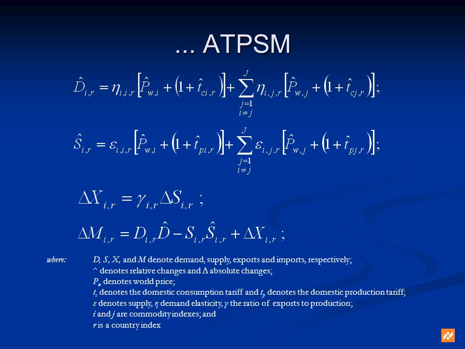... ATPSM where: D, S, X, and M denote demand, supply, exports and imports, respectively; ^ denotes relative changes and absolute changes; P w denotes