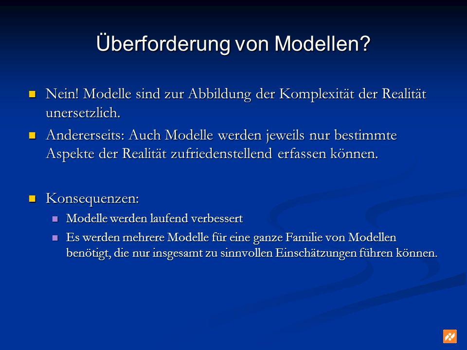 Überforderung von Modellen? Nein! Modelle sind zur Abbildung der Komplexität der Realität unersetzlich. Nein! Modelle sind zur Abbildung der Komplexit