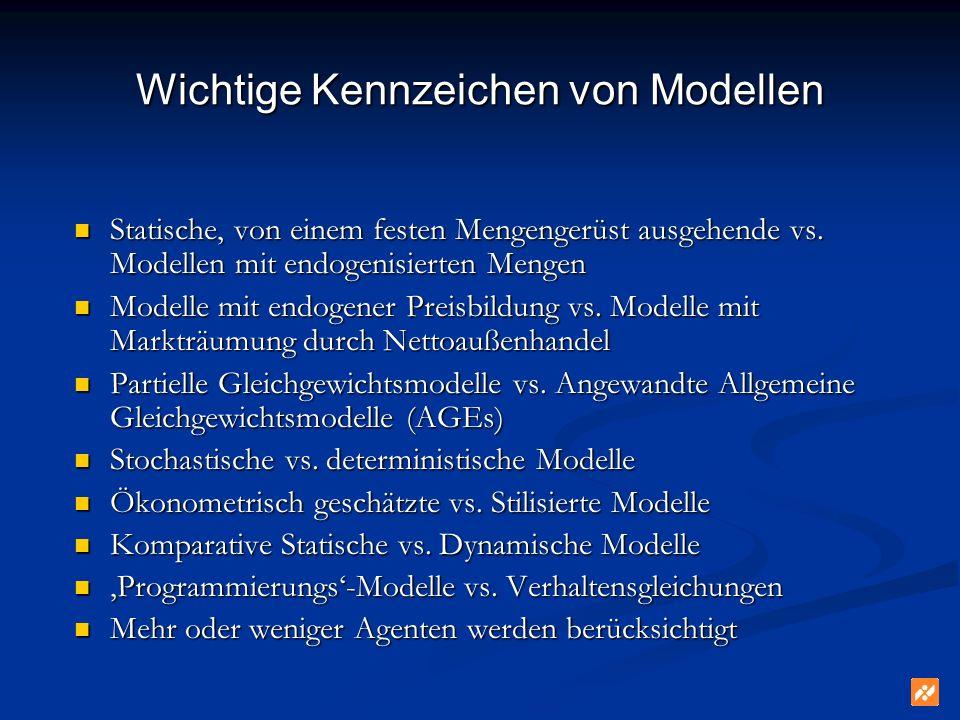 Wichtige Kennzeichen von Modellen Statische, von einem festen Mengengerüst ausgehende vs. Modellen mit endogenisierten Mengen Statische, von einem fes