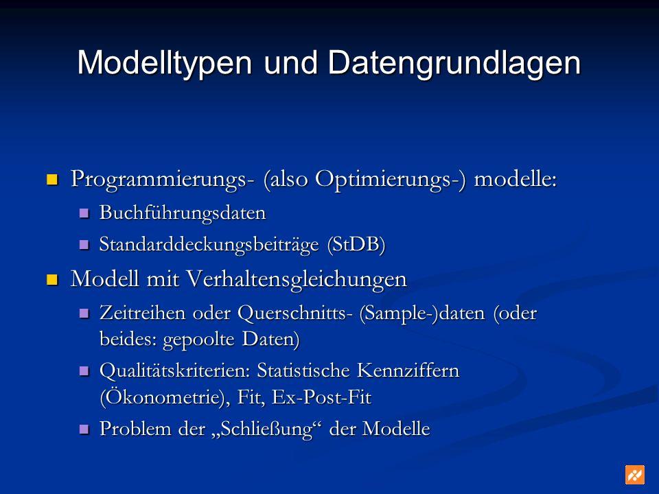 Modelltypen und Datengrundlagen Programmierungs- (also Optimierungs-) modelle: Programmierungs- (also Optimierungs-) modelle: Buchführungsdaten Buchführungsdaten Standarddeckungsbeiträge (StDB) Standarddeckungsbeiträge (StDB) Modell mit Verhaltensgleichungen Modell mit Verhaltensgleichungen Zeitreihen oder Querschnitts- (Sample-)daten (oder beides: gepoolte Daten) Zeitreihen oder Querschnitts- (Sample-)daten (oder beides: gepoolte Daten) Qualitätskriterien: Statistische Kennziffern (Ökonometrie), Fit, Ex-Post-Fit Qualitätskriterien: Statistische Kennziffern (Ökonometrie), Fit, Ex-Post-Fit Problem der Schließung der Modelle Problem der Schließung der Modelle