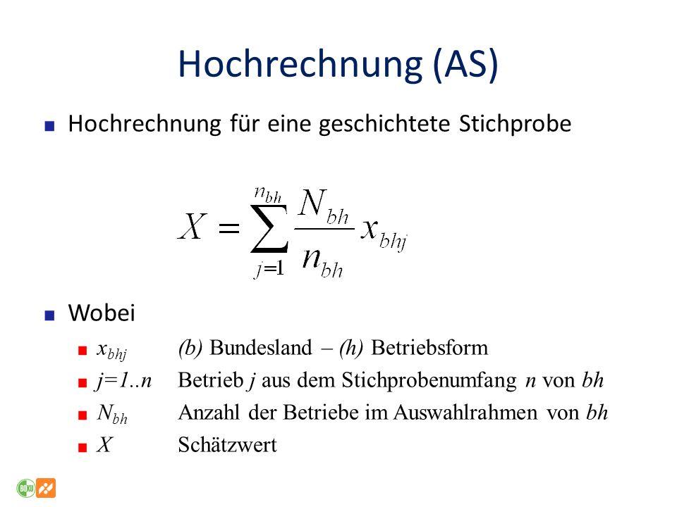 Hochrechnung (AS) Hochrechnung für eine geschichtete Stichprobe Wobei x bhj (b) Bundesland – (h) Betriebsform j=1..nBetrieb j aus dem Stichprobenumfan