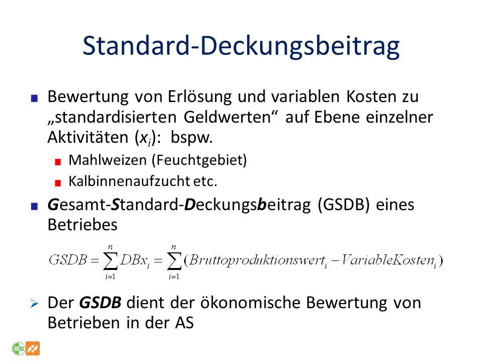 Standard-Deckungsbeitrag Bewertung von Erlösung und variablen Kosten zu standardisierten Geldwerten auf Ebene einzelner Aktivitäten (x i ): bspw. Mahl