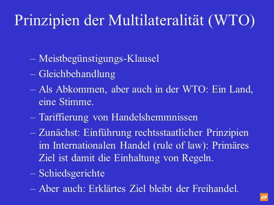 Prinzipien der Multilateralität (WTO) –Meistbegünstigungs-Klausel –Gleichbehandlung –Als Abkommen, aber auch in der WTO: Ein Land, eine Stimme. –Tarif