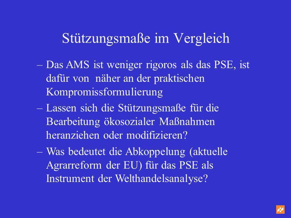 Stützungsmaße im Vergleich –Das AMS ist weniger rigoros als das PSE, ist dafür von näher an der praktischen Kompromissformulierung –Lassen sich die St
