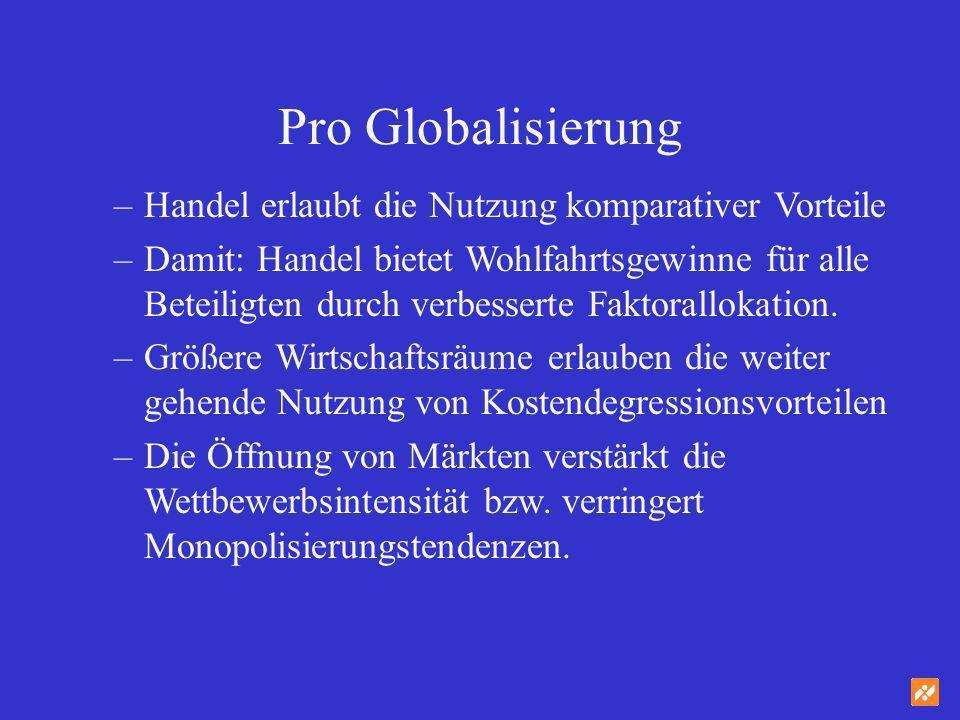 Contra Globalisierung –Der freie Warenaustausch untergräbt die Multifunktionalität von Produktion (insbesondere der Landwirtschaft).
