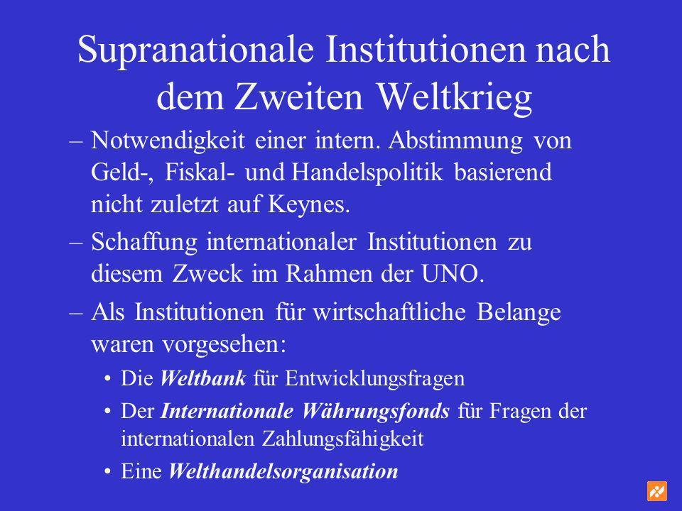 Supranationale Institutionen nach dem Zweiten Weltkrieg –Notwendigkeit einer intern. Abstimmung von Geld-, Fiskal- und Handelspolitik basierend nicht
