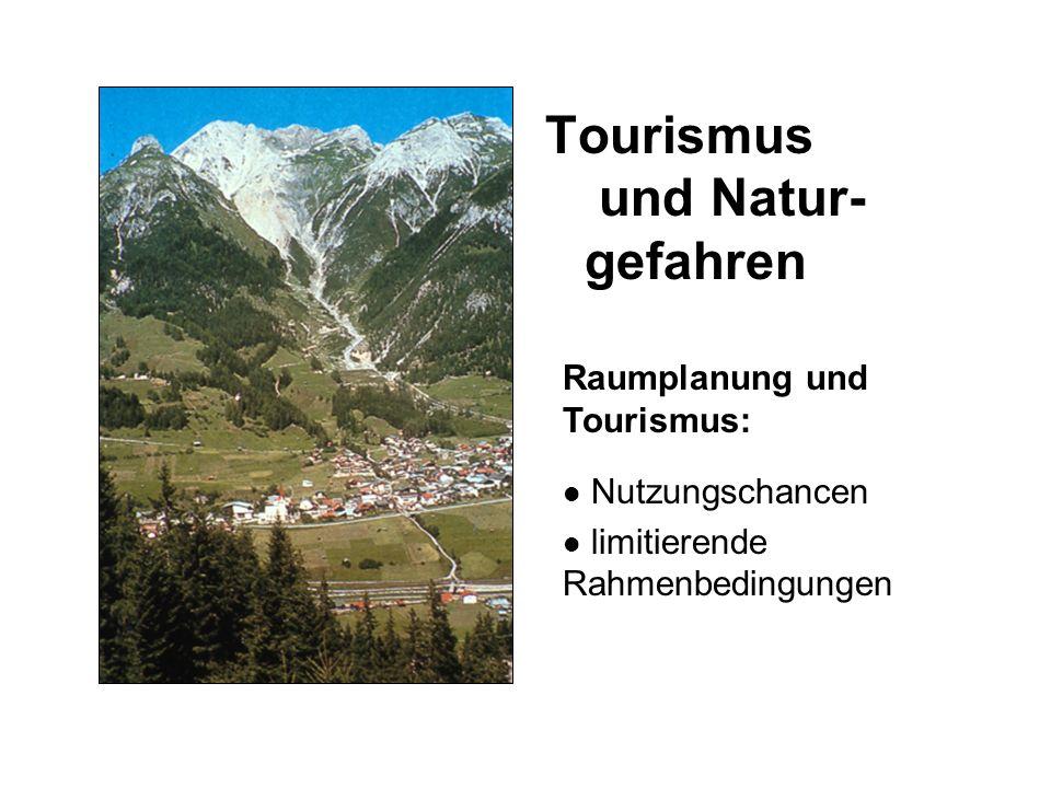 Tourismus und Natur- gefahren Raumplanung und Tourismus: Nutzungschancen limitierende Rahmenbedingungen