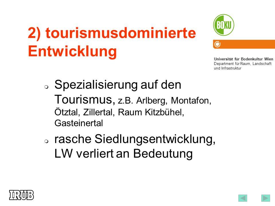 Universität für Bodenkultur Wien Department für Raum, Landschaft und Infrastruktur Institut für Raumplanung und Ländliche Neuordnung an der Universität für Bodenkultur Wien 3 2) tourismusdominierte Entwicklung Spezialisierung auf den Tourismus, z.B.