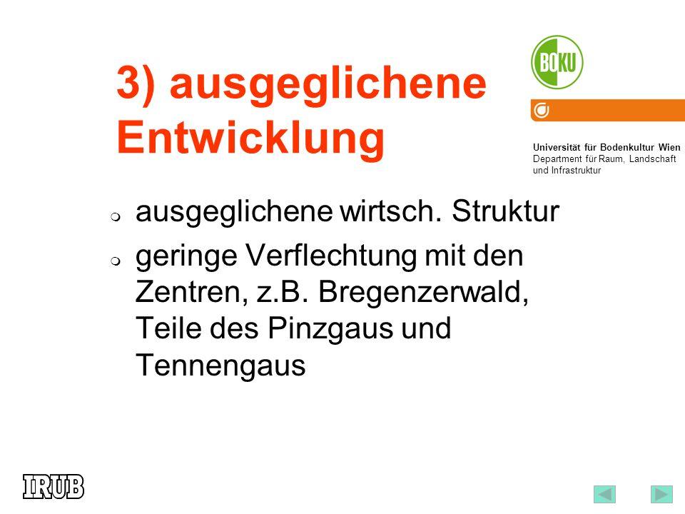 Universität für Bodenkultur Wien Department für Raum, Landschaft und Infrastruktur Institut für Raumplanung und Ländliche Neuordnung an der Universität für Bodenkultur Wien 6 3) ausgeglichene Entwicklung ausgeglichene wirtsch.