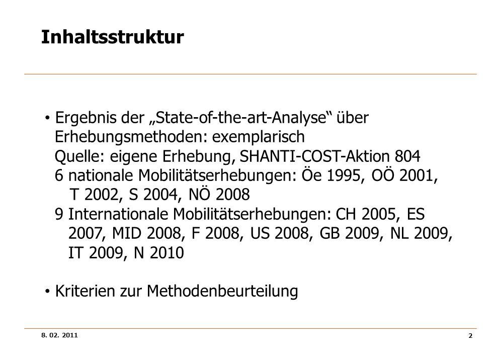 8. 02. 2011 2 Inhaltsstruktur Ergebnis der State-of-the-art-Analyse über Erhebungsmethoden: exemplarisch Quelle: eigene Erhebung, SHANTI-COST-Aktion 8