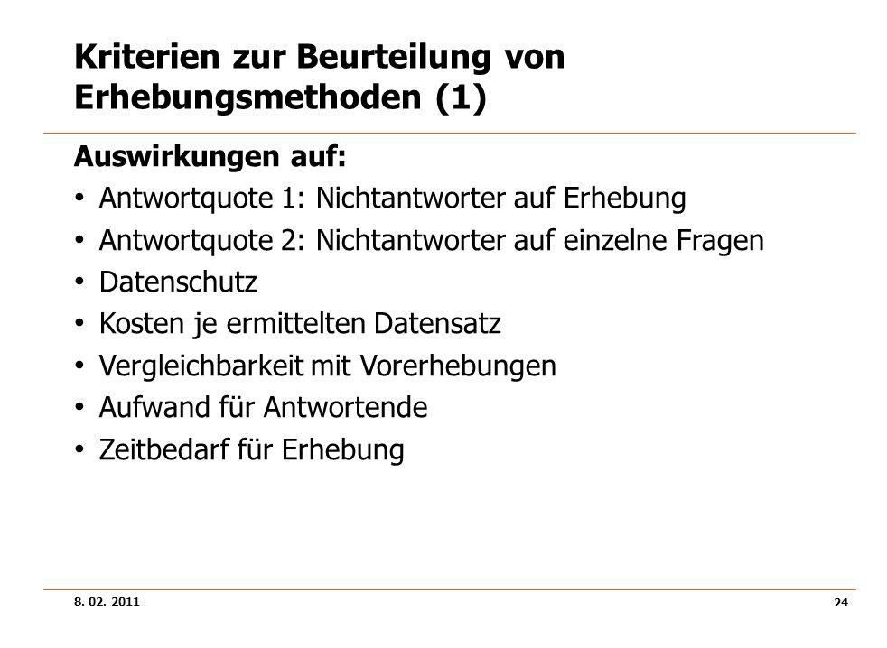 8. 02. 2011 24 Kriterien zur Beurteilung von Erhebungsmethoden (1) Auswirkungen auf: Antwortquote 1: Nichtantworter auf Erhebung Antwortquote 2: Nicht