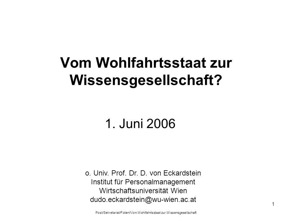 Post/Sekretariat/Folien/Vom Wohlfahrtsstaat zur Wissensgesellschaft 1 Vom Wohlfahrtsstaat zur Wissensgesellschaft? 1. Juni 2006 o. Univ. Prof. Dr. D.