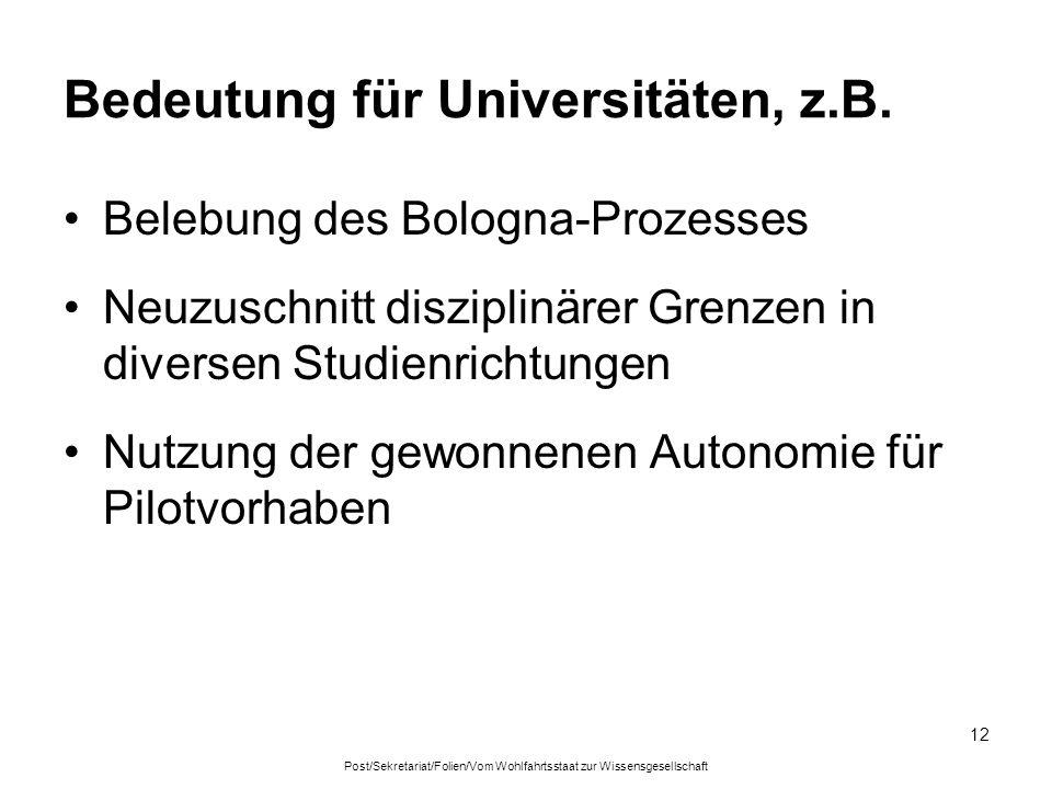 Post/Sekretariat/Folien/Vom Wohlfahrtsstaat zur Wissensgesellschaft 12 Bedeutung für Universitäten, z.B.