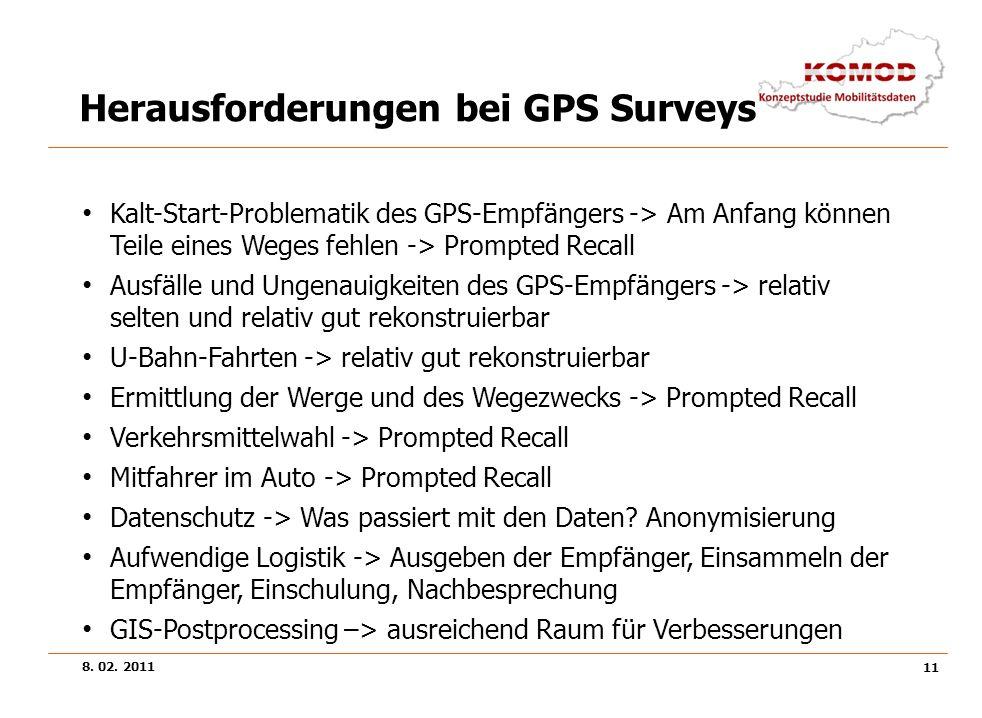 8. 02. 2011 11 Herausforderungen bei GPS Surveys Kalt-Start-Problematik des GPS-Empfängers -> Am Anfang können Teile eines Weges fehlen -> Prompted Re
