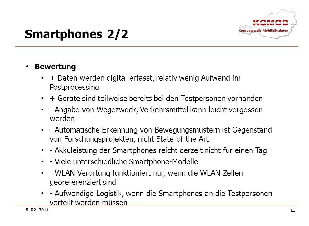 8. 02. 2011 13 Smartphones 2/2 Bewertung + Daten werden digital erfasst, relativ wenig Aufwand im Postprocessing + Geräte sind teilweise bereits bei d