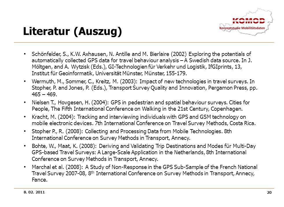 8. 02. 2011 20 Literatur (Auszug) Schönfelder, S., K.W. Axhausen, N. Antille and M. Bierlaire (2002) Exploring the potentials of automatically collect