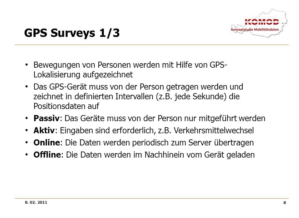 8. 02. 2011 8 GPS Surveys 1/3 Bewegungen von Personen werden mit Hilfe von GPS- Lokalisierung aufgezeichnet Das GPS-Gerät muss von der Person getragen
