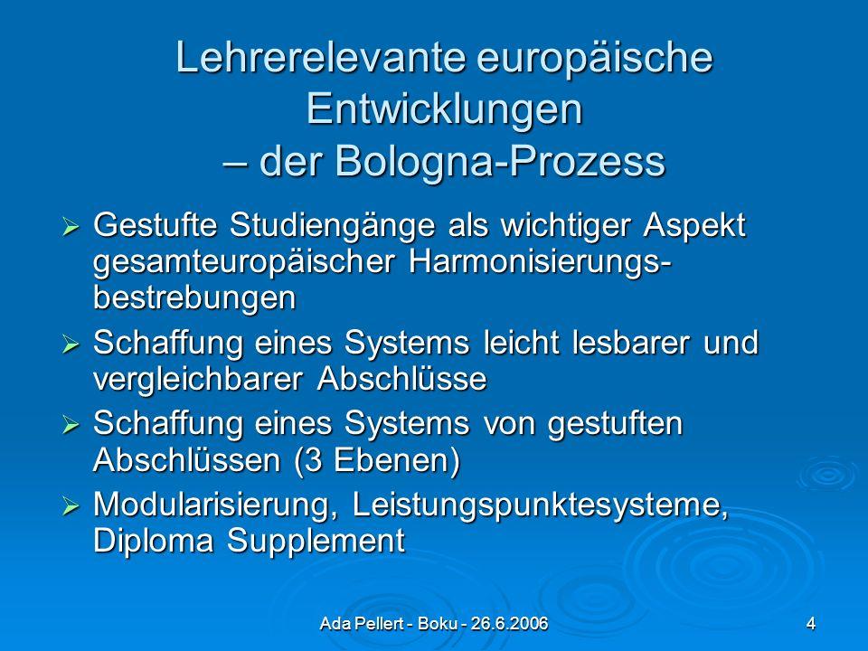 Ada Pellert - Boku - 26.6.20064 Lehrerelevante europäische Entwicklungen – der Bologna-Prozess Gestufte Studiengänge als wichtiger Aspekt gesamteuropäischer Harmonisierungs- bestrebungen Gestufte Studiengänge als wichtiger Aspekt gesamteuropäischer Harmonisierungs- bestrebungen Schaffung eines Systems leicht lesbarer und vergleichbarer Abschlüsse Schaffung eines Systems leicht lesbarer und vergleichbarer Abschlüsse Schaffung eines Systems von gestuften Abschlüssen (3 Ebenen) Schaffung eines Systems von gestuften Abschlüssen (3 Ebenen) Modularisierung, Leistungspunktesysteme, Diploma Supplement Modularisierung, Leistungspunktesysteme, Diploma Supplement