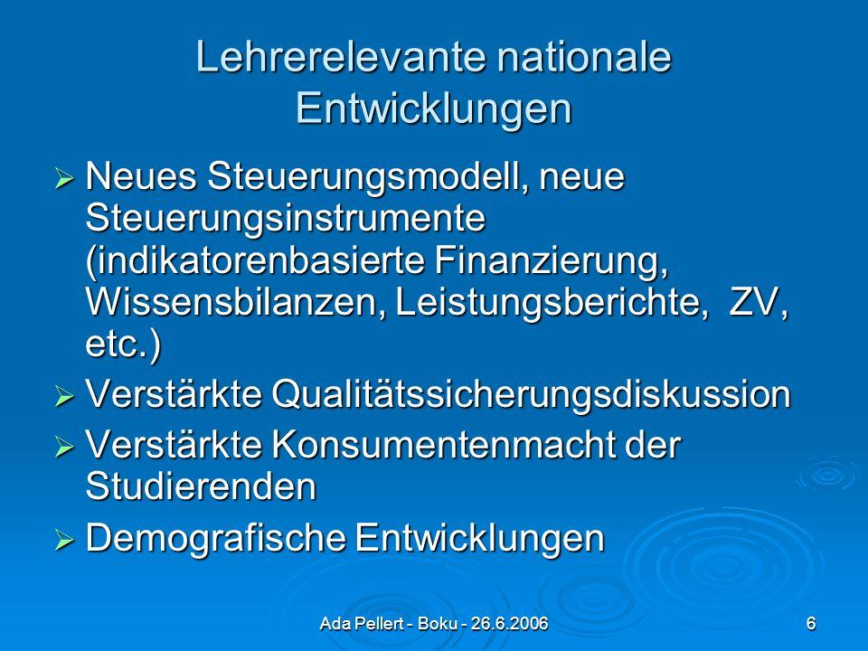 Ada Pellert - Boku - 26.6.20066 Lehrerelevante nationale Entwicklungen Neues Steuerungsmodell, neue Steuerungsinstrumente (indikatorenbasierte Finanzierung, Wissensbilanzen, Leistungsberichte, ZV, etc.) Neues Steuerungsmodell, neue Steuerungsinstrumente (indikatorenbasierte Finanzierung, Wissensbilanzen, Leistungsberichte, ZV, etc.) Verstärkte Qualitätssicherungsdiskussion Verstärkte Qualitätssicherungsdiskussion Verstärkte Konsumentenmacht der Studierenden Verstärkte Konsumentenmacht der Studierenden Demografische Entwicklungen Demografische Entwicklungen