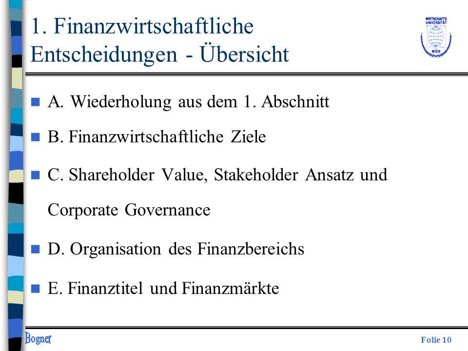 Folie 10 1. Finanzwirtschaftliche Entscheidungen - Übersicht n A. Wiederholung aus dem 1. Abschnitt n B. Finanzwirtschaftliche Ziele n C. Shareholder