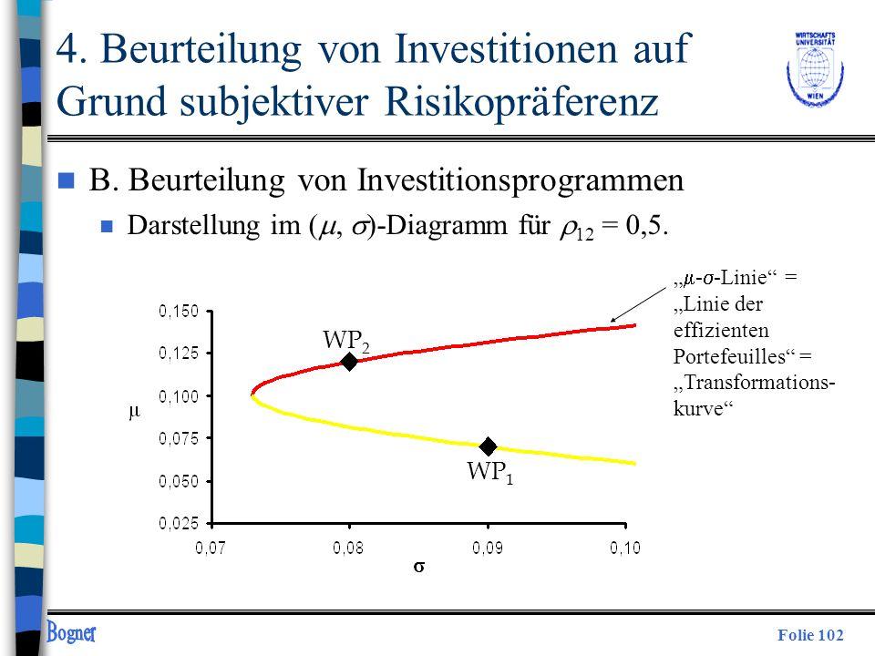 Folie 102 WP 1 WP 2 4. Beurteilung von Investitionen auf Grund subjektiver Risikopräferenz n B. Beurteilung von Investitionsprogrammen Darstellung im