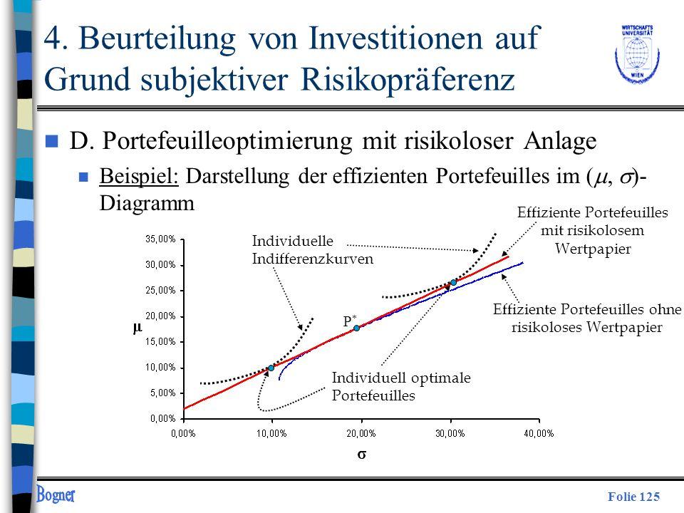 Folie 125 P*P* Effiziente Portefeuilles mit risikolosem Wertpapier Effiziente Portefeuilles ohne risikoloses Wertpapier Individuelle Indifferenzkurven