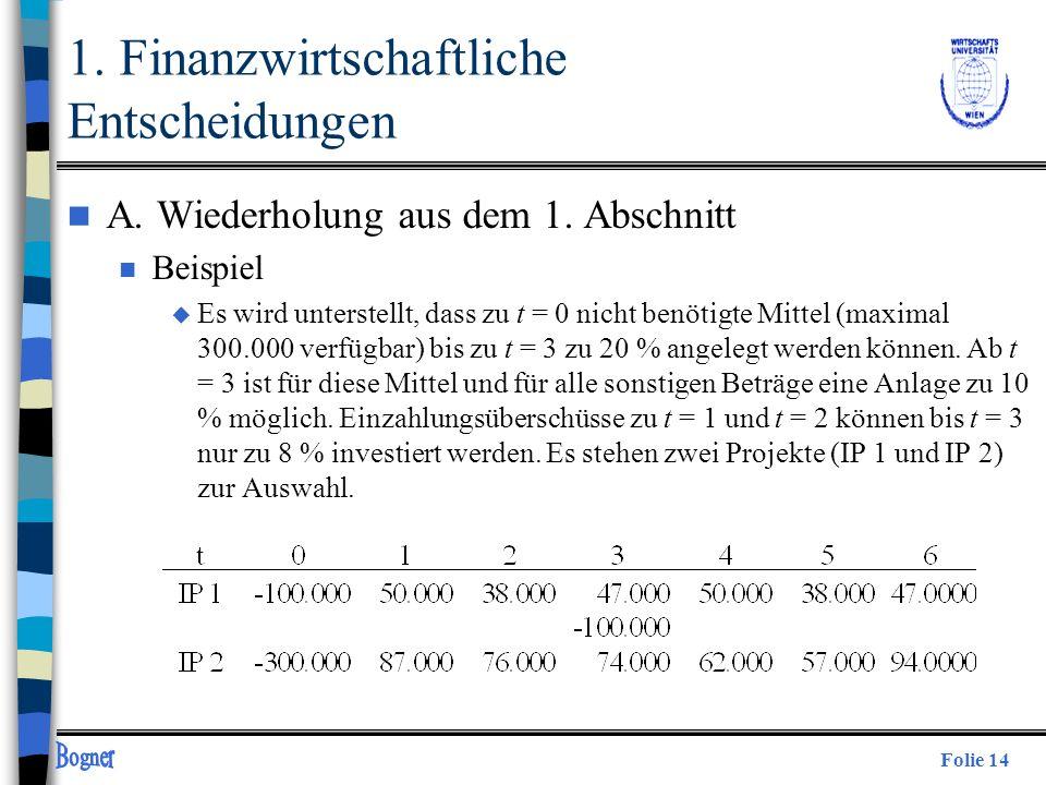 Folie 14 1. Finanzwirtschaftliche Entscheidungen n A. Wiederholung aus dem 1. Abschnitt n Beispiel u Es wird unterstellt, dass zu t = 0 nicht benötigt