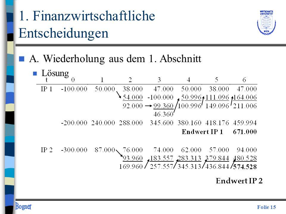 Folie 15 1. Finanzwirtschaftliche Entscheidungen n A. Wiederholung aus dem 1. Abschnitt n Lösung Endwert IP 2