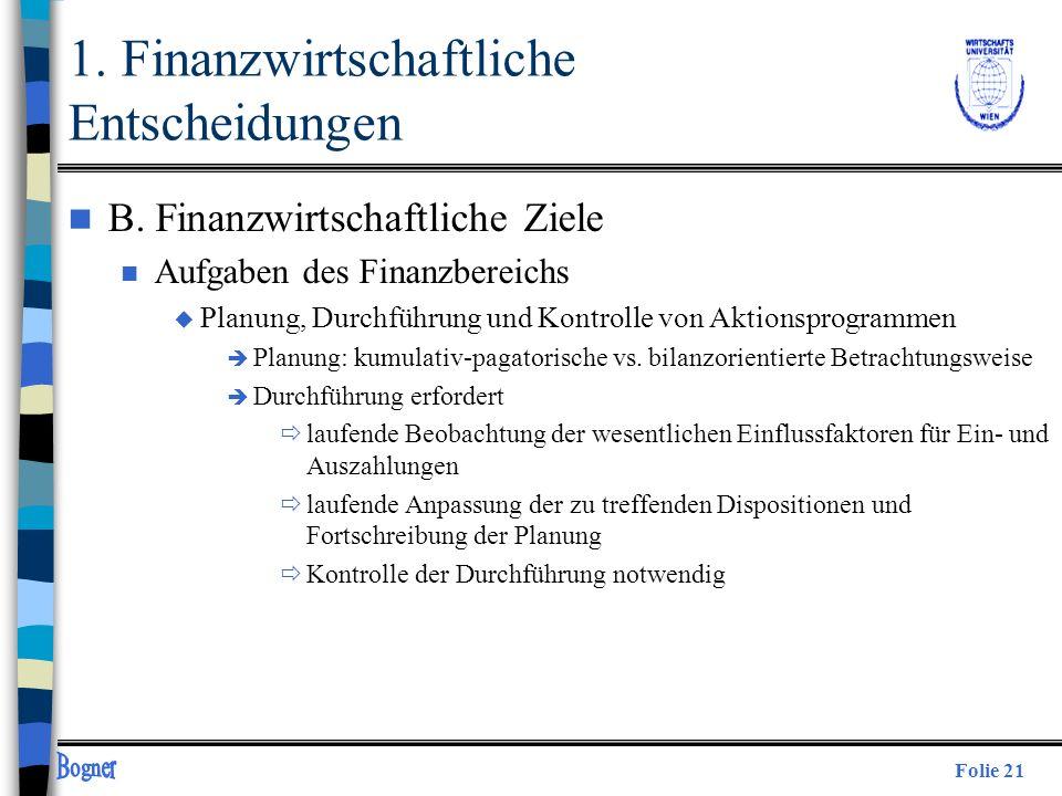 Folie 21 n B. Finanzwirtschaftliche Ziele n Aufgaben des Finanzbereichs u Planung, Durchführung und Kontrolle von Aktionsprogrammen è Planung: kumulat