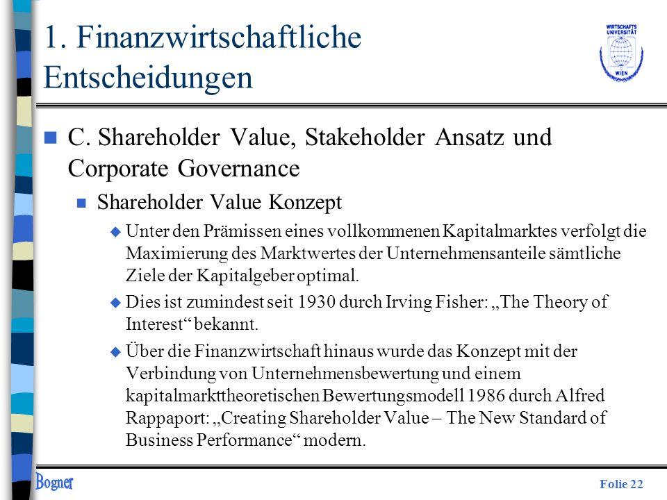 Folie 22 n C. Shareholder Value, Stakeholder Ansatz und Corporate Governance n Shareholder Value Konzept u Unter den Prämissen eines vollkommenen Kapi
