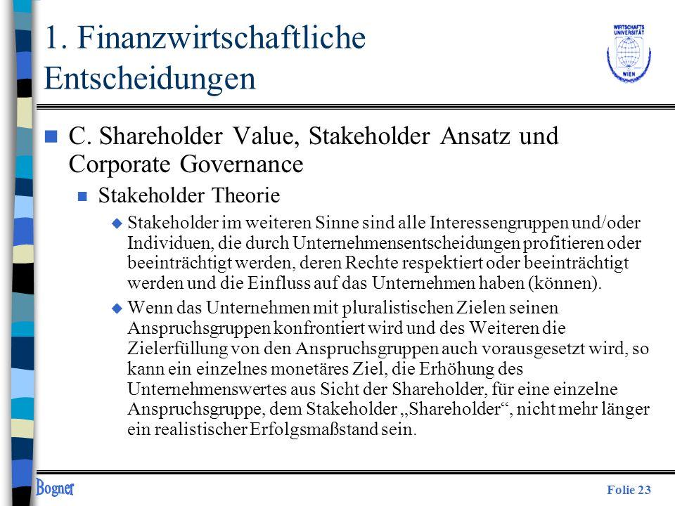 Folie 23 n C. Shareholder Value, Stakeholder Ansatz und Corporate Governance n Stakeholder Theorie u Stakeholder im weiteren Sinne sind alle Interesse