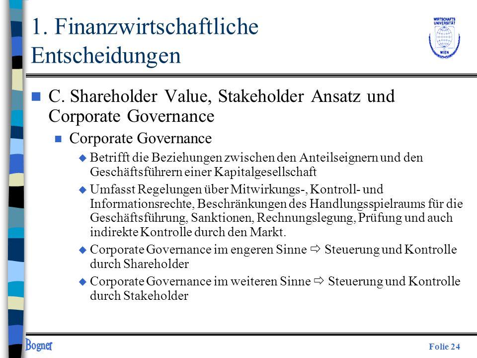 Folie 24 n C. Shareholder Value, Stakeholder Ansatz und Corporate Governance n Corporate Governance u Betrifft die Beziehungen zwischen den Anteilseig
