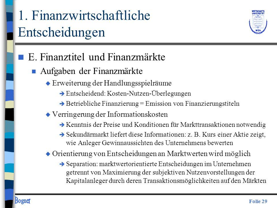 Folie 29 n E. Finanztitel und Finanzmärkte n Aufgaben der Finanzmärkte u Erweiterung der Handlungsspielräume è Entscheidend: Kosten-Nutzen-Überlegunge