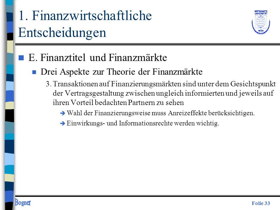 Folie 33 n E. Finanztitel und Finanzmärkte n Drei Aspekte zur Theorie der Finanzmärkte 3.Transaktionen auf Finanzierungsmärkten sind unter dem Gesicht