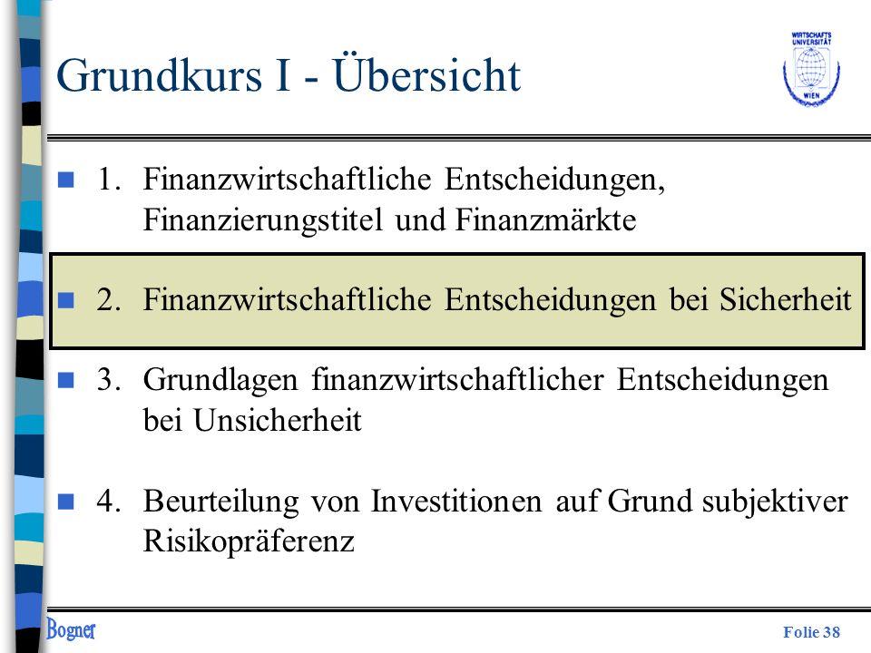 Folie 38 Grundkurs I - Übersicht n 1. Finanzwirtschaftliche Entscheidungen, Finanzierungstitel und Finanzmärkte n 2.Finanzwirtschaftliche Entscheidung