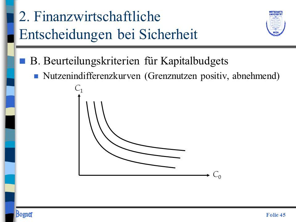 Folie 45 C1C1 C0C0 2. Finanzwirtschaftliche Entscheidungen bei Sicherheit n B. Beurteilungskriterien für Kapitalbudgets n Nutzenindifferenzkurven (Gre