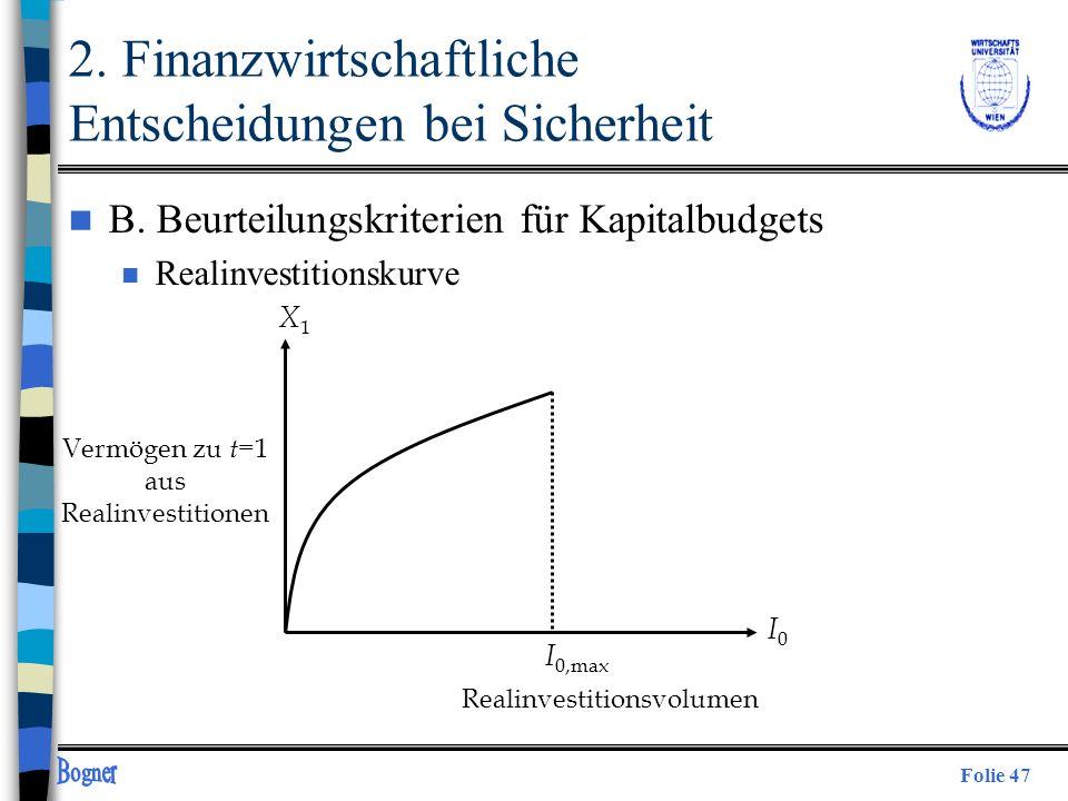 Folie 47 X1X1 I0I0 I 0,max Vermögen zu t =1 aus Realinvestitionen Realinvestitionsvolumen 2. Finanzwirtschaftliche Entscheidungen bei Sicherheit n B.