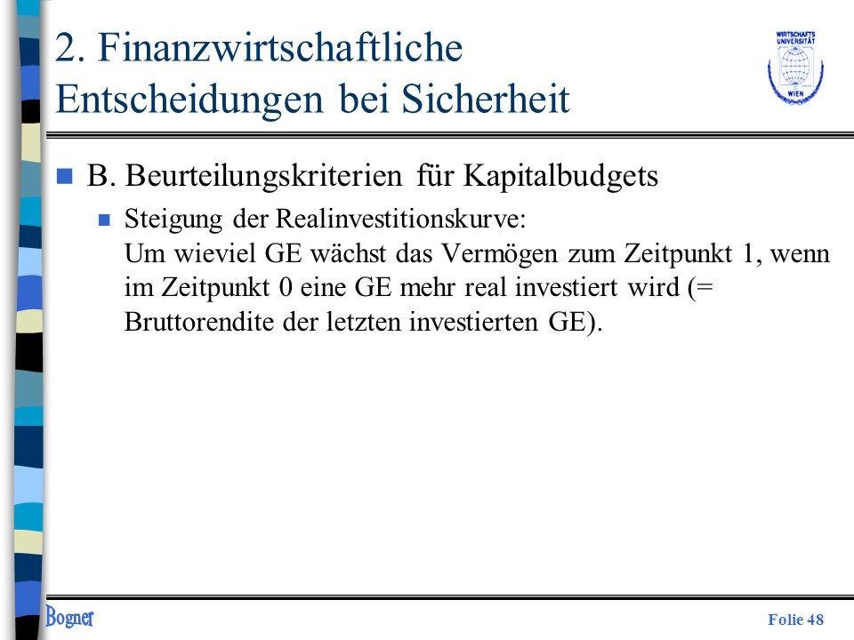 Folie 48 2. Finanzwirtschaftliche Entscheidungen bei Sicherheit n B. Beurteilungskriterien für Kapitalbudgets n Steigung der Realinvestitionskurve: Um