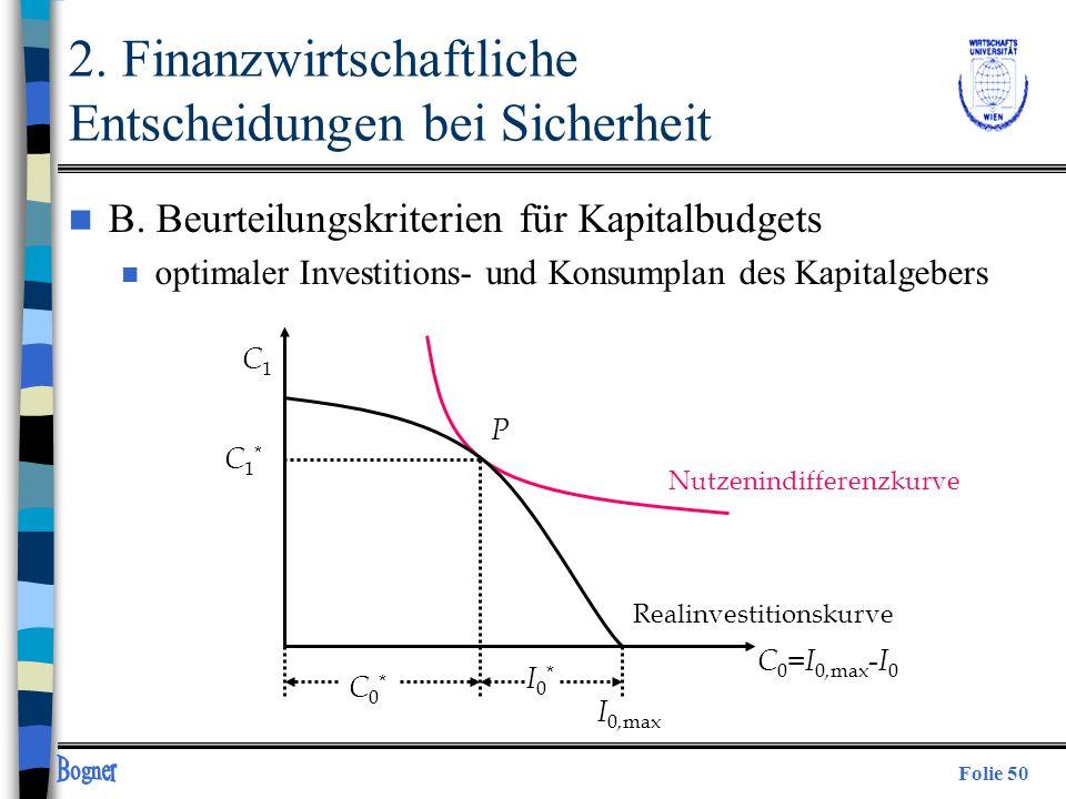 Folie 50 n B. Beurteilungskriterien für Kapitalbudgets n optimaler Investitions- und Konsumplan des Kapitalgebers C1C1 Realinvestitionskurve P C0*C0*